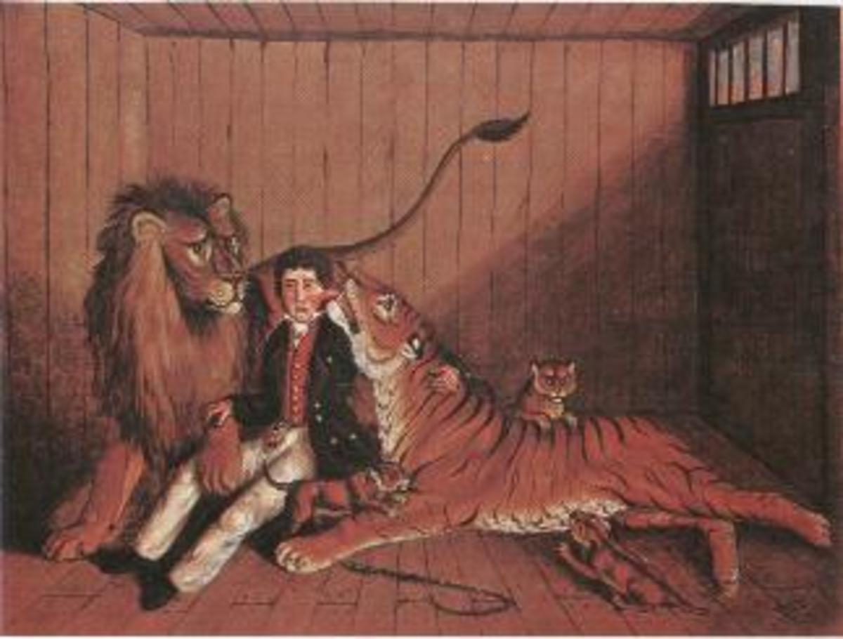 A painting of big cat trainer with a lion, a tiger, and 3 hybrid offspring. 19th Century (1800s).