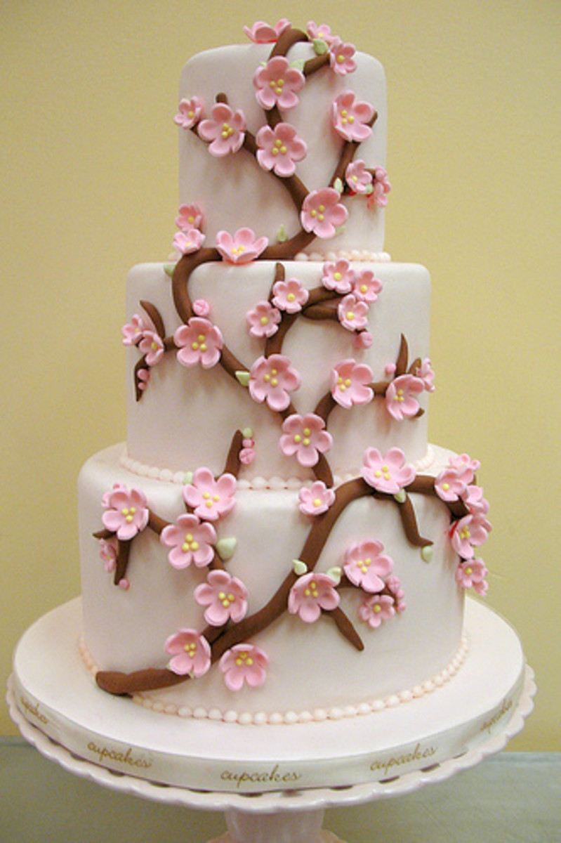 Contemporary Cherry Blossom Wedding Cake