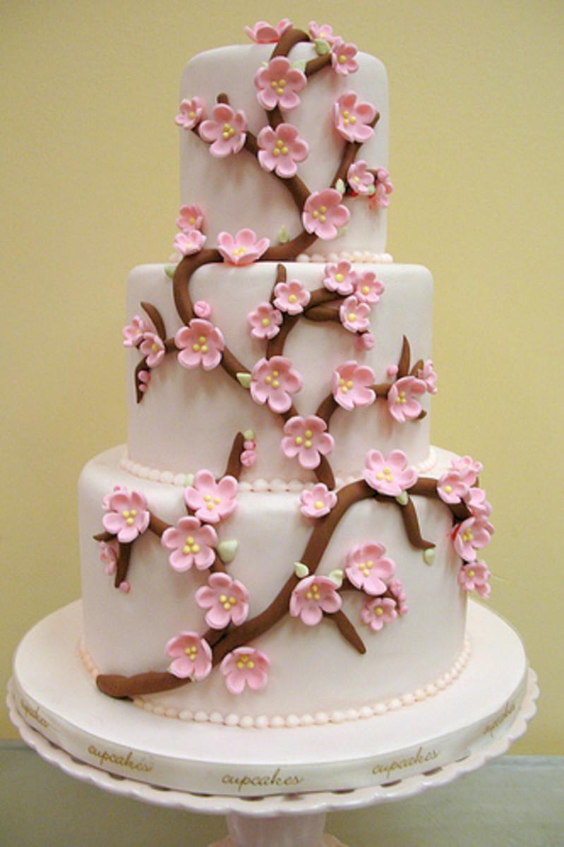 Contemporary Cherry Blossom Wedding Cake