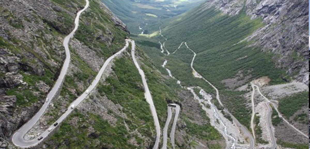 Trollstigen is a steep road (with an incline of 9 percent) built in Norway.