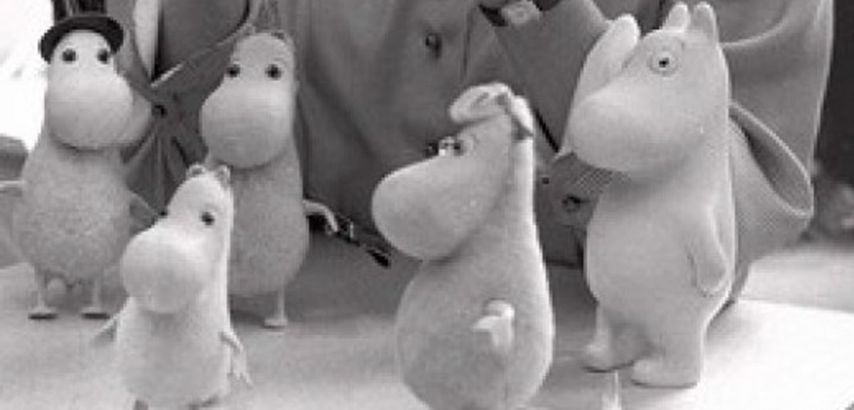 Models of Tove Jansson's moomintroll characters.