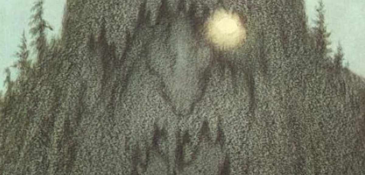"A cropped version of ""Skogtroll,"" one of Theodor Kittelsen's famous illustrations."