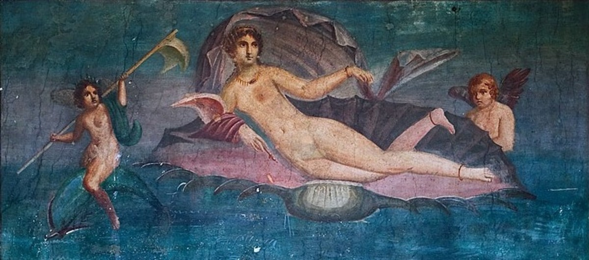Aphrodite Emerging from the Sea, from a Pompeian fresco.