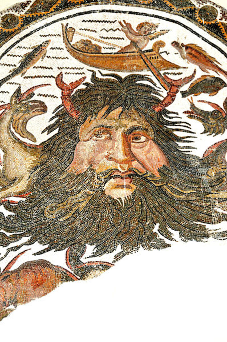 Pontus, the primordial God of the Sea, Mosaic, Tunisia