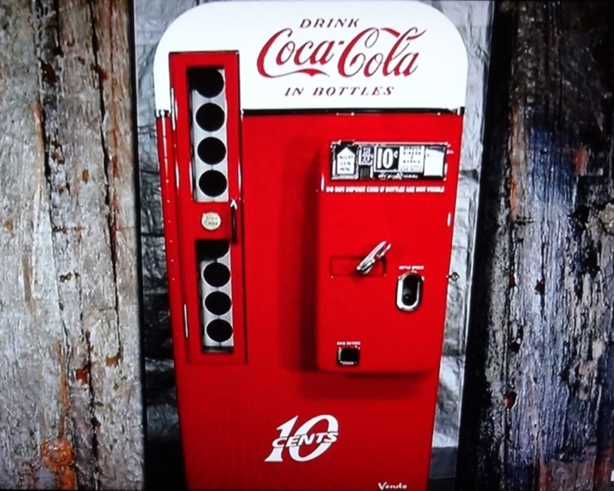 The ten cent coke machine dispensed glass bottles of soda. The handle released the mechanism allowing one bottle to be released.