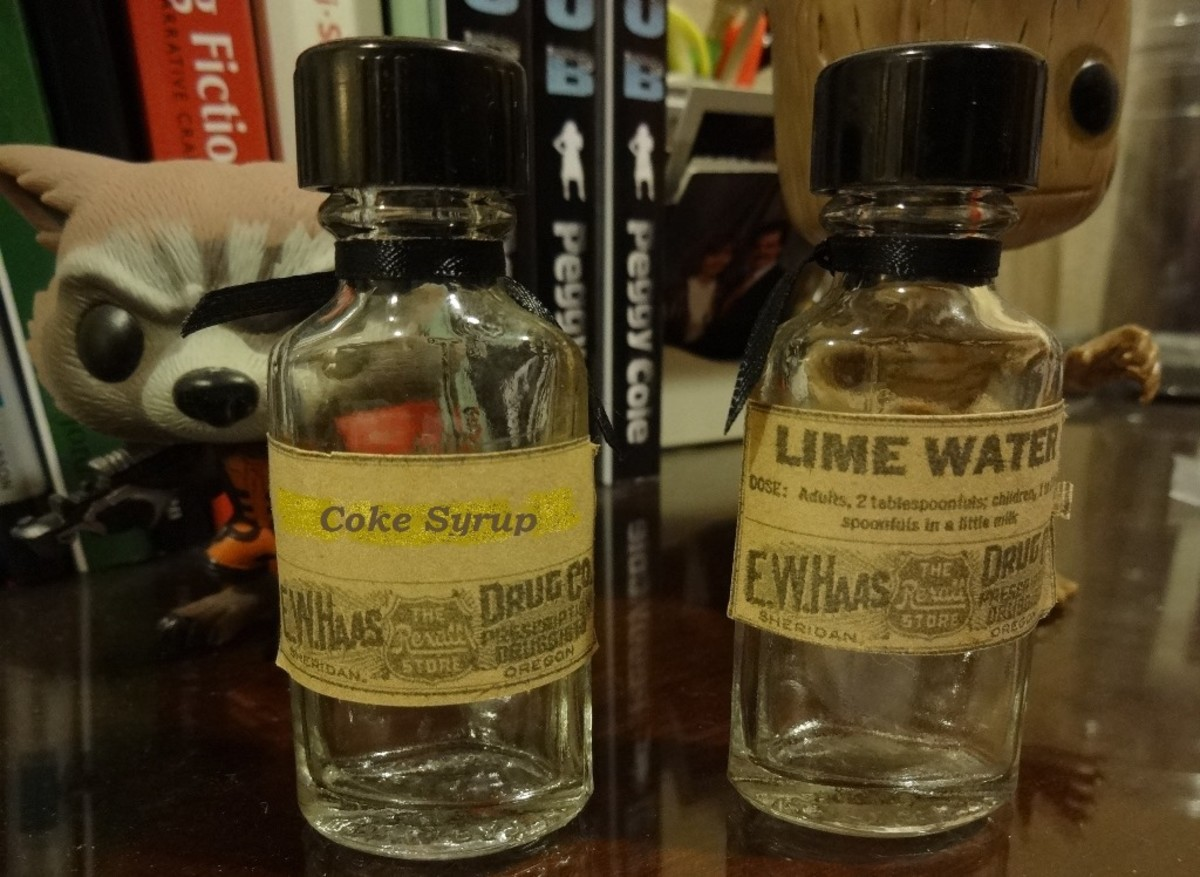Vintage bottles held home remedies filled by the pharmacist on site.