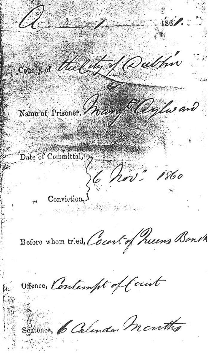 Crime and Sentence of Margaret Aylward