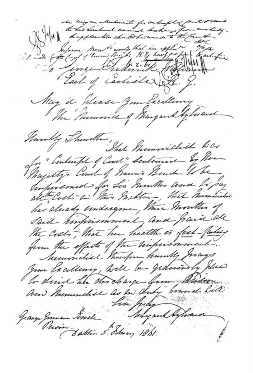 Letter written in Grangegorman Female Penitentiary by Margaret Alyward