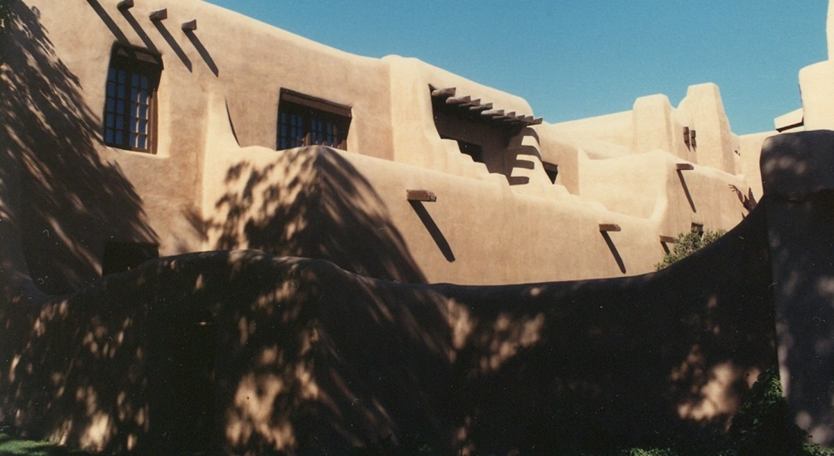 Whether historic or not, all buildings in Santa Fe, New Mexico are built according to the adobe-hacienda code.