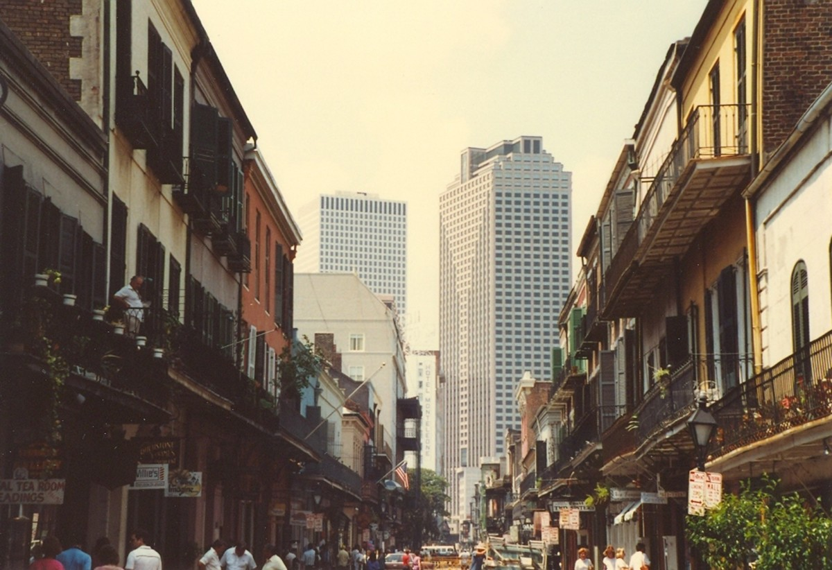 Looking down one of New Orleans old quarter streets towards the business dictrict in a pre-Katrina photograph.