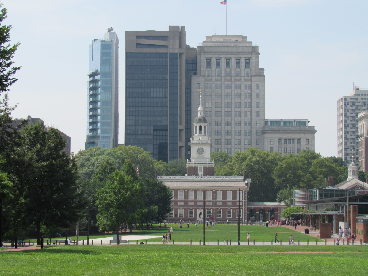 View of Independence Hall from the north end of Independence Mall. Philadelphia, Pennsylvania.