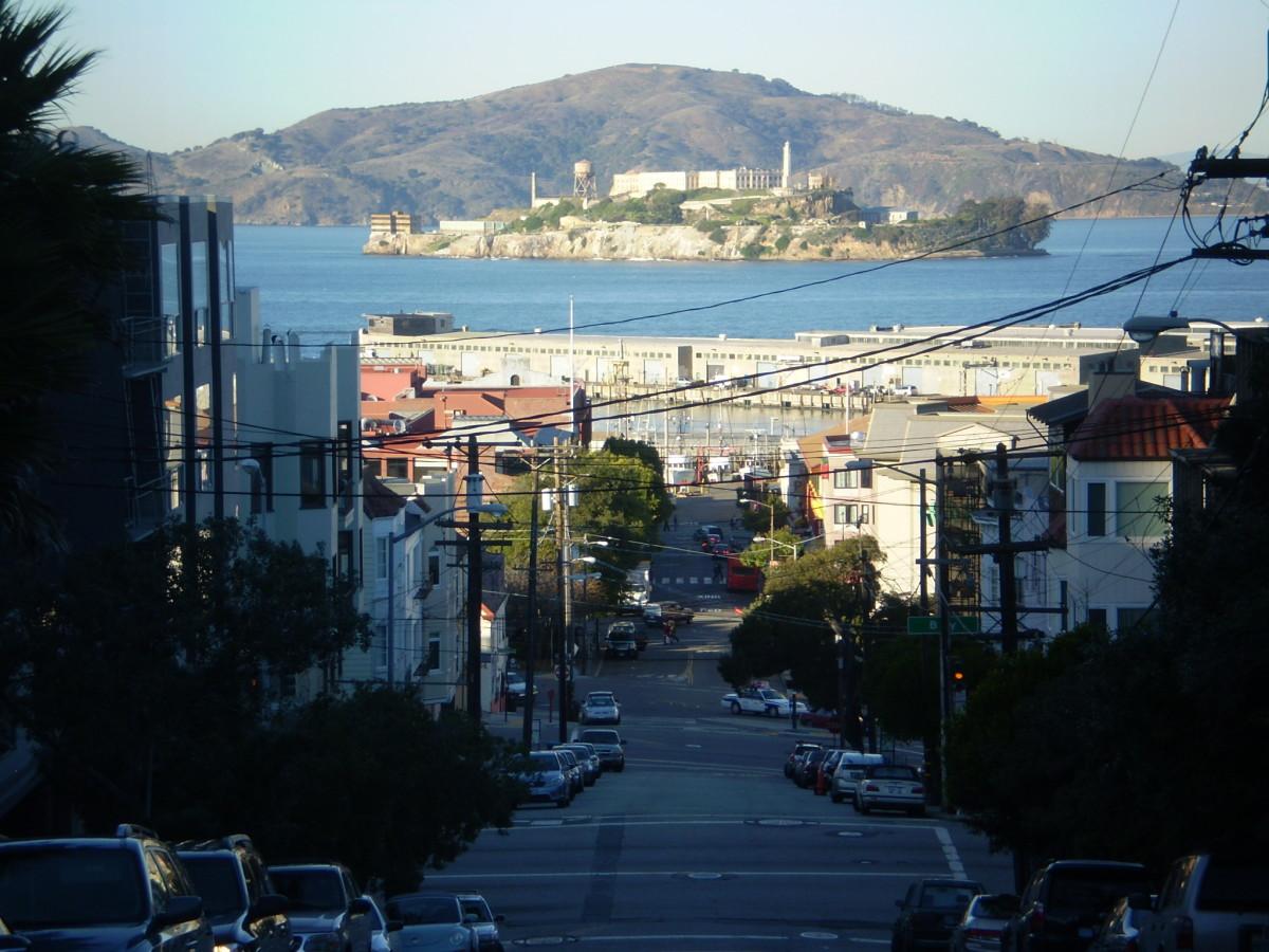 View towards Alcatraz Island from Russian Hill.