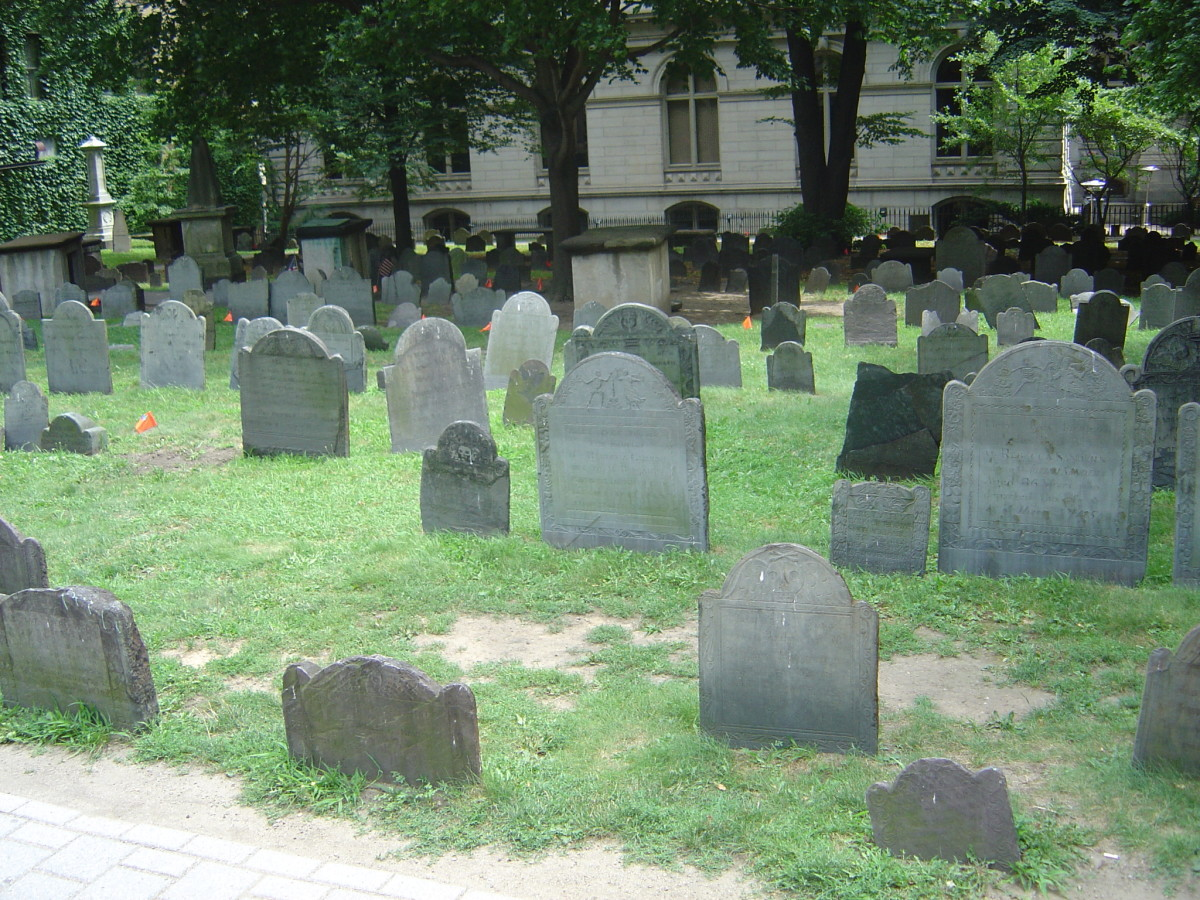KING'S CHAPEL BURIAL GROUND ESTABLISHED IN BOSTON IN 1630 INCLUDES GRAVES OF JOHN WINTHROP AND JOHN COTTON