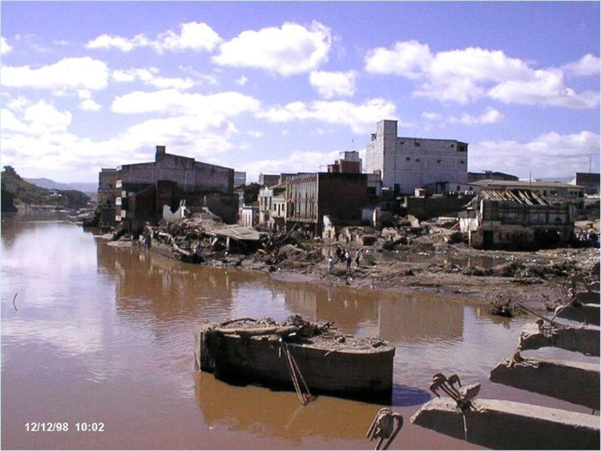 Flooding from Hurricane Mitch in Honduras.