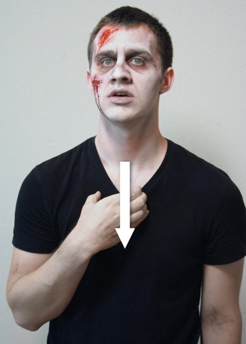 The 'C' hand shape slides from the throat down to the chest.