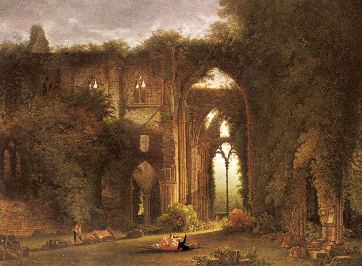 """Tintern Abbey with Elegant Figures"" by Samuel Colman"