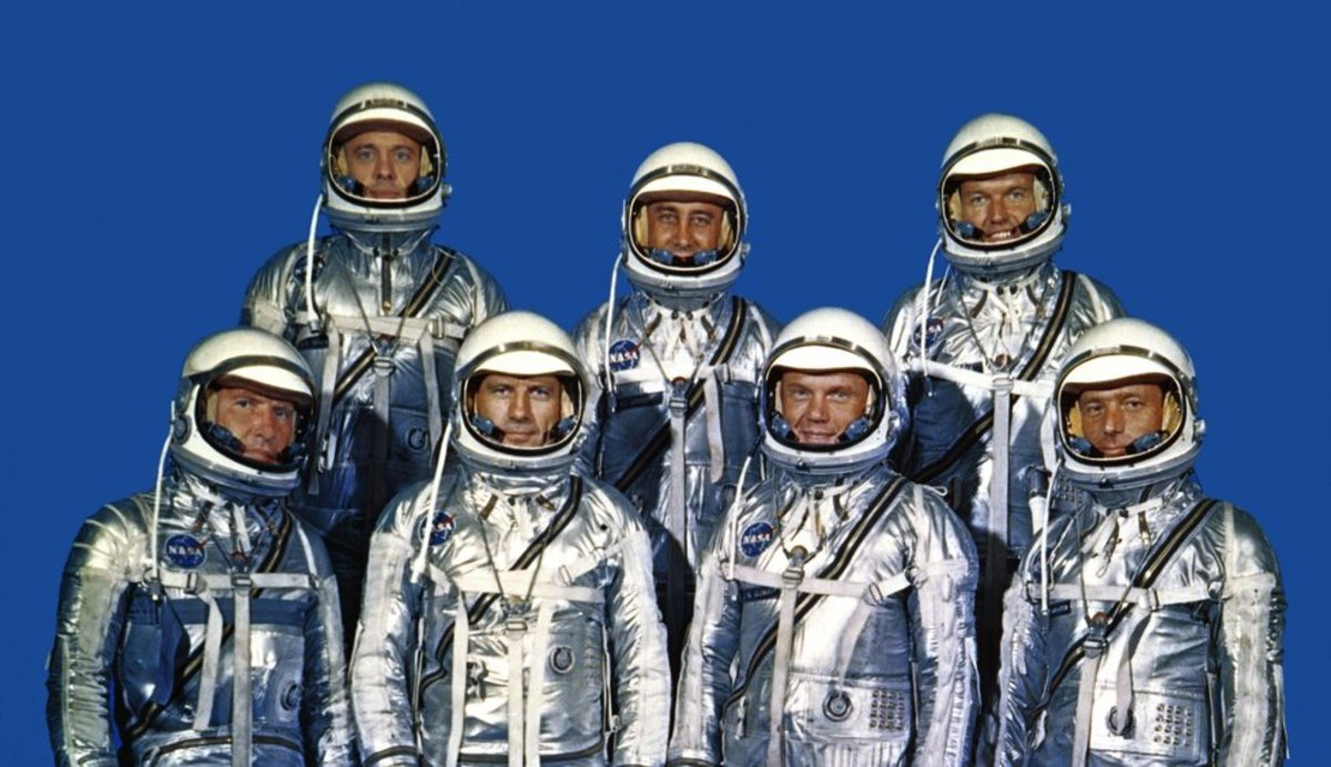Mercury Astronauts (left to right) Schirra, Shepard, Slayton, Grissom, Glenn, Cooper, Carpenter. Photo courtesy of NASA.