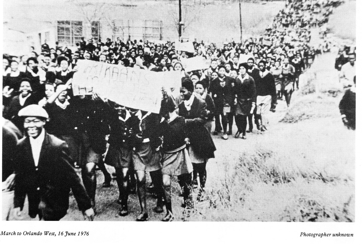 Student during the in 1976 marching towards Orlando Stadiums to hold a rally and discuss the Afrikaans Issues