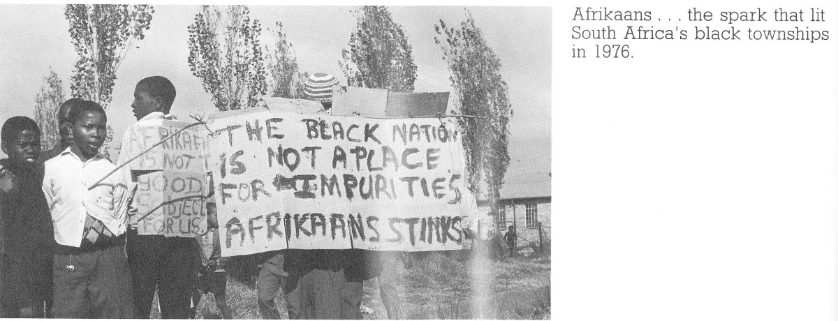 Afrikaners have been trying to impose Afrikaans as a language in all subjects in African Schools, students with their placards gave back a serious answer what they thought of Afrikaans as a language