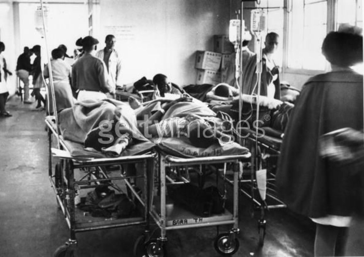 June 1976: Injured people waiting for treatment during the revolt in Baragwanath Hospital. This was part of the chaos the was taking place in the Emergency Room