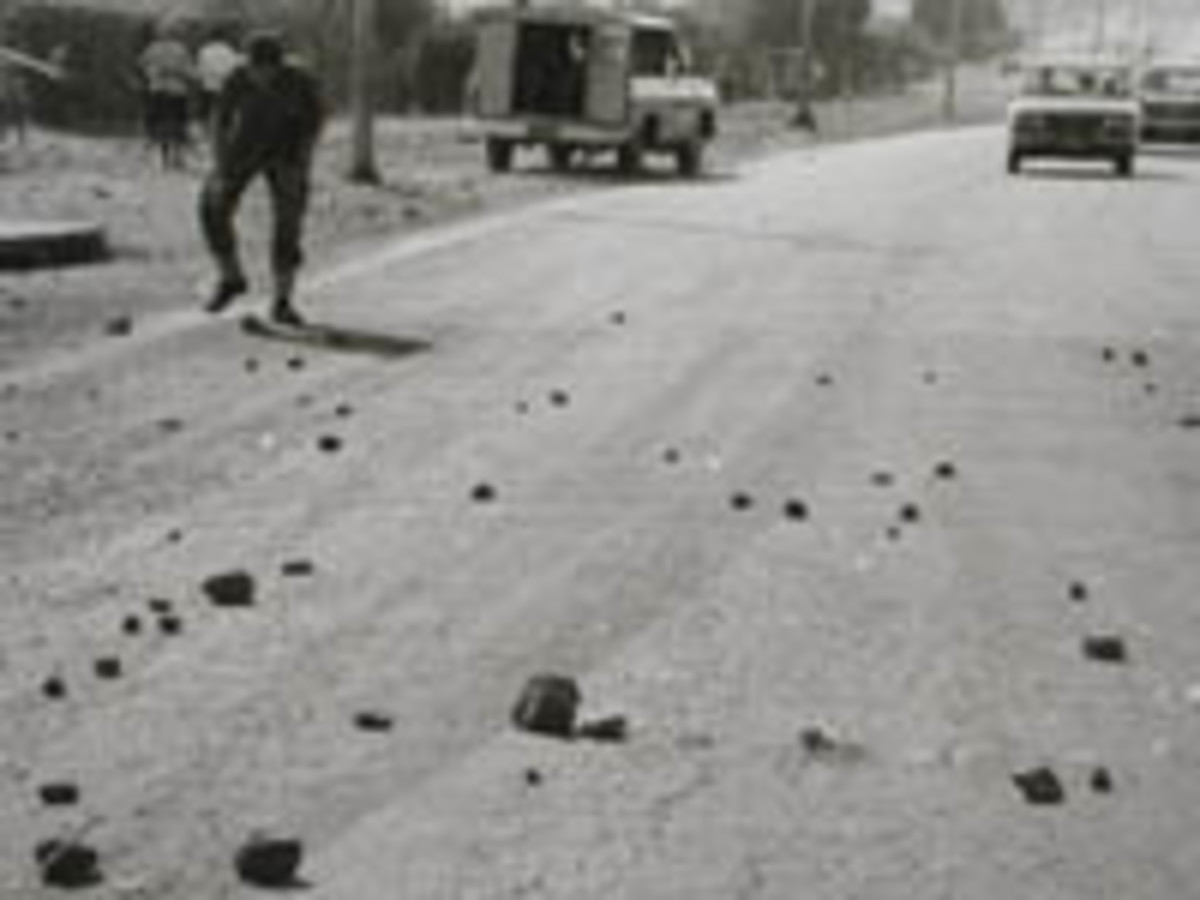 Rocks and stones students used against the police, note a police van in the background in 1976