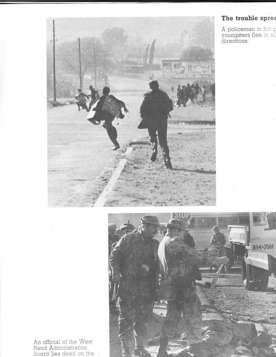 Policeman in hot pursuit of demonstrators during the June 16th 1976: policemen with guns against unarmed youths meandering around a dead body of an African protester