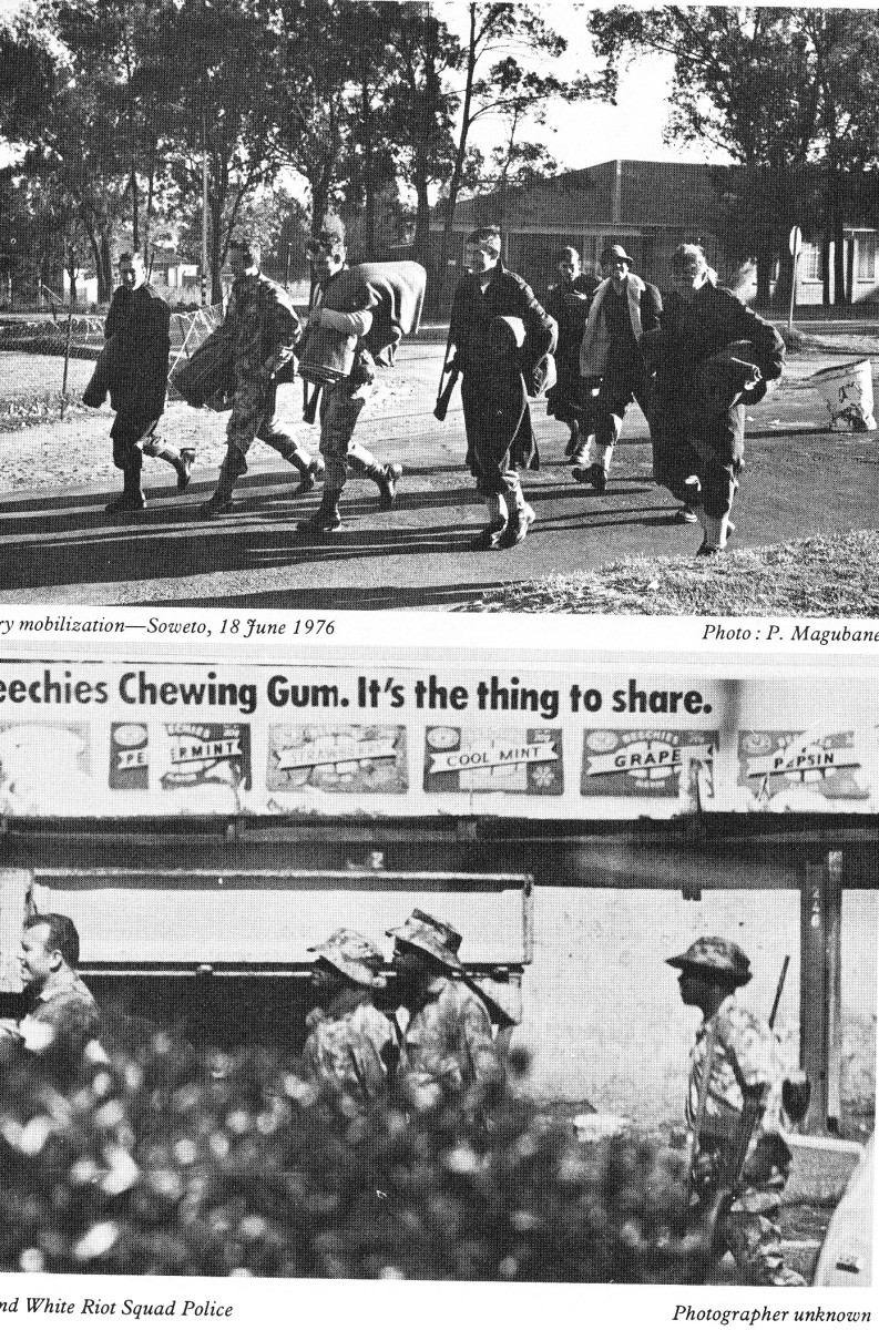 Military mobilization taking place in Soweto on June 18th 1976; Black and White Riot squads being positioned throughout the township of Soweto