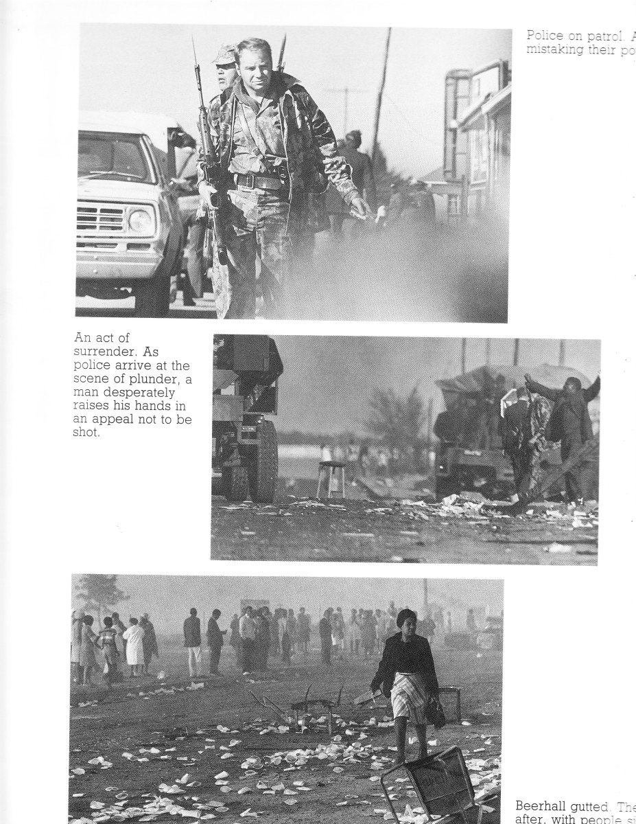 Police patrol the aftermath of a revolt; plunder was the norm in the second picture for the day of June 16th 1976; ; gutted beer hall and the rubbish left behind witnessed by morning commuters on their way to work in the third picture