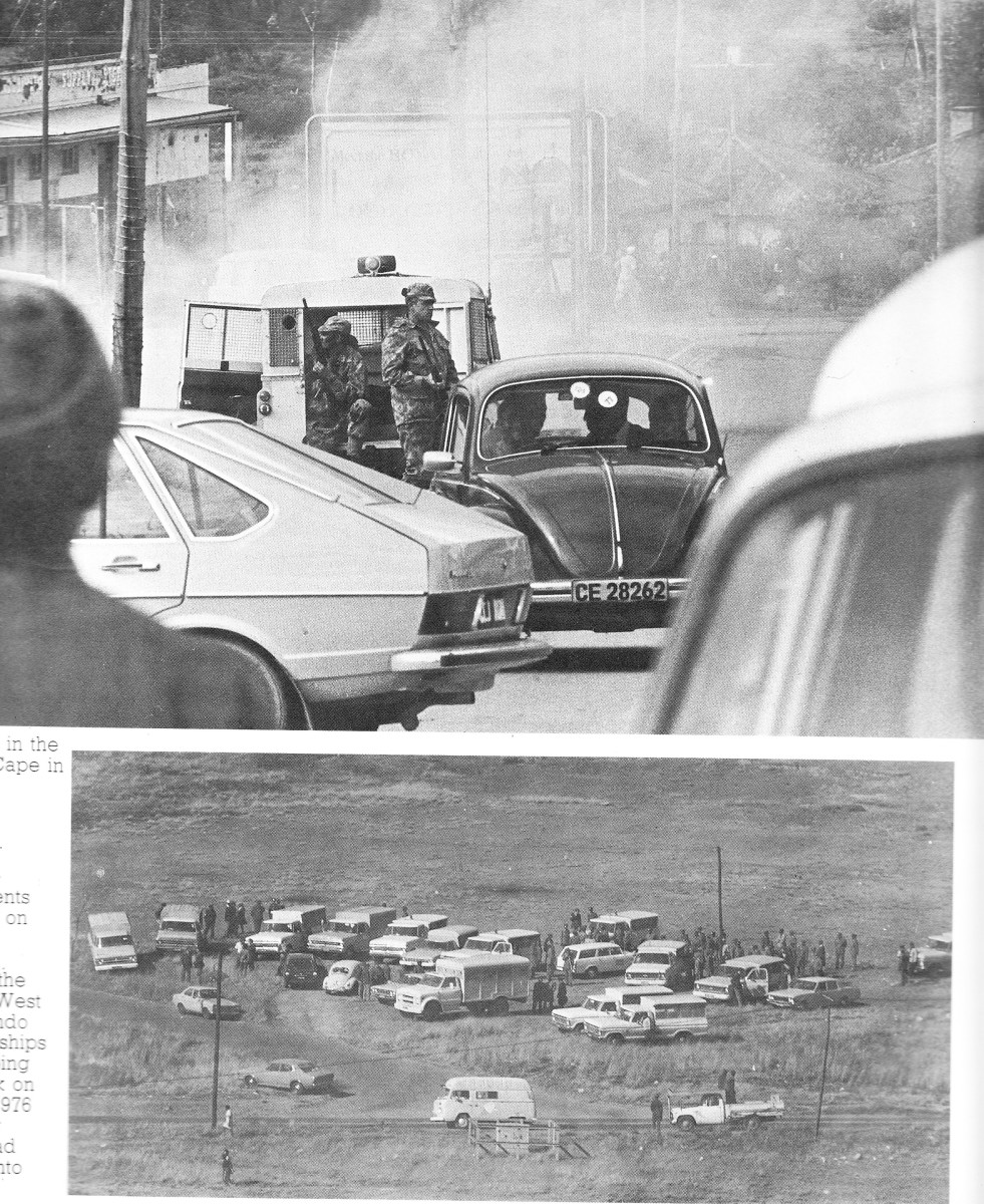 Top: Roadblocks in Zwelitsha, Cape Town as the 1976 revolt  spread and became countrywide; Police vehicles and manpower reinforces assemble before attacking the students in Soweto, 1976