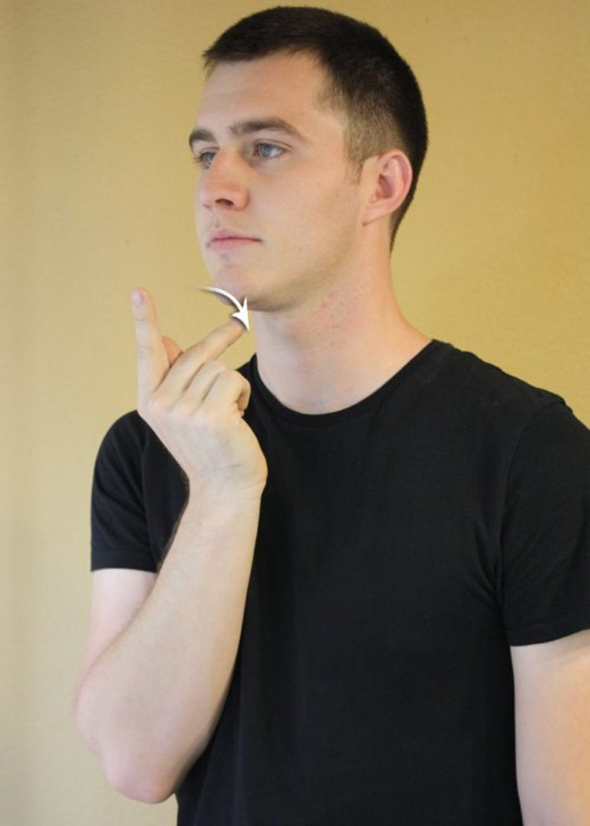 P hand-shape is held to the chin and the middle finger is slid down the chin.
