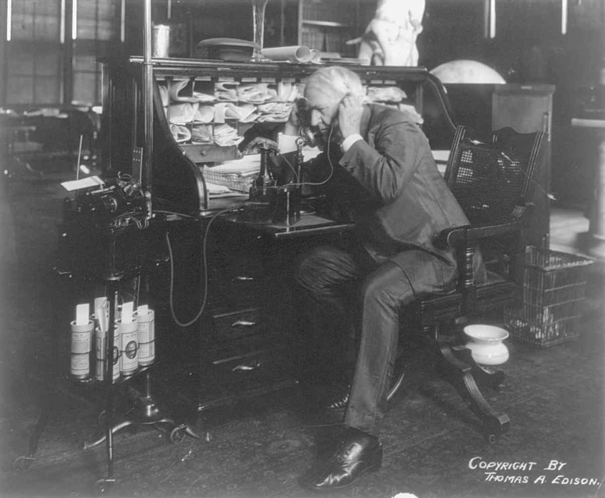 Famous people spit, too. Thomas Alva Edison, 1914.