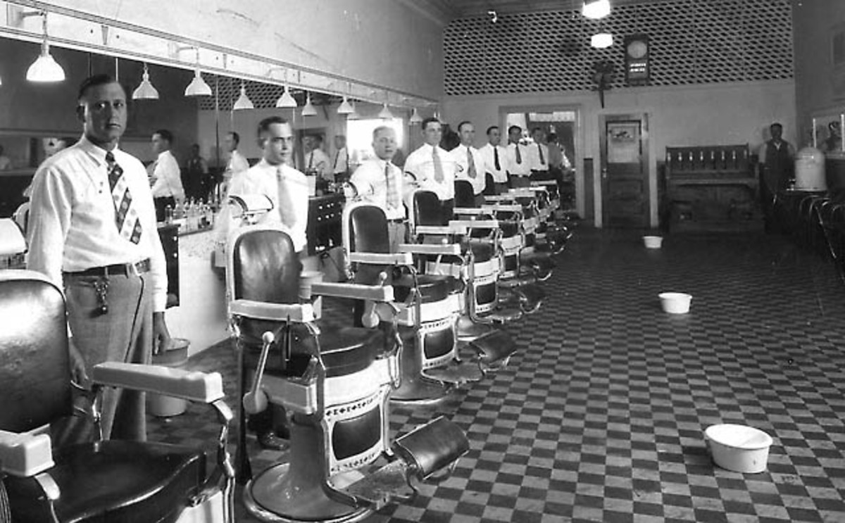 Spittoons in the barber shop.