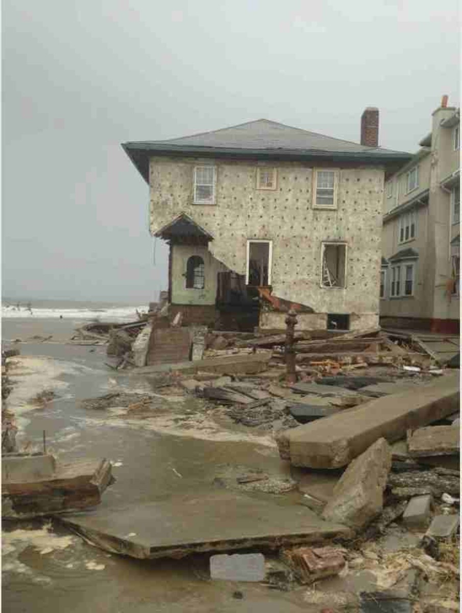 Damage from Hurricane Sandy to a home in Brooklyn, NY