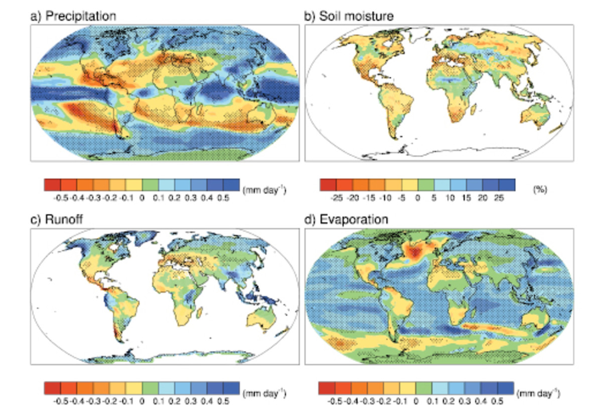 Precipitation and Drying, from the IPCC Fourth Assessment Report. Note the drying in Mexico, the Mediterranean basin, and coastal Chile in the upper left panel.