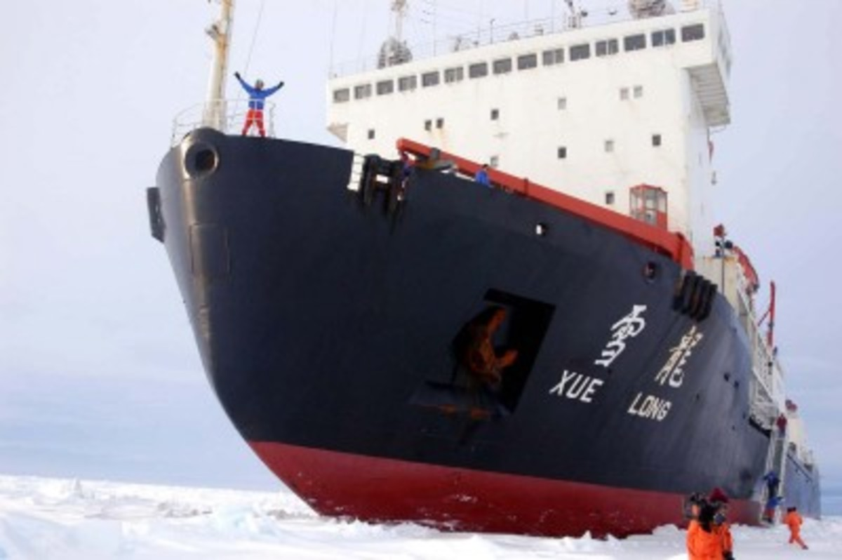 The Chinese icebreaker and research vessel Snow Dragon in the Antarctic.  She is spending the summer of 2010 in the Arctic.
