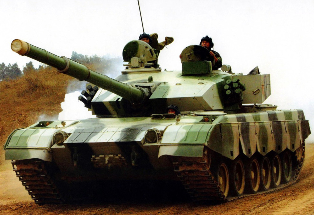 Chinese ZTZ96G tank on the road.