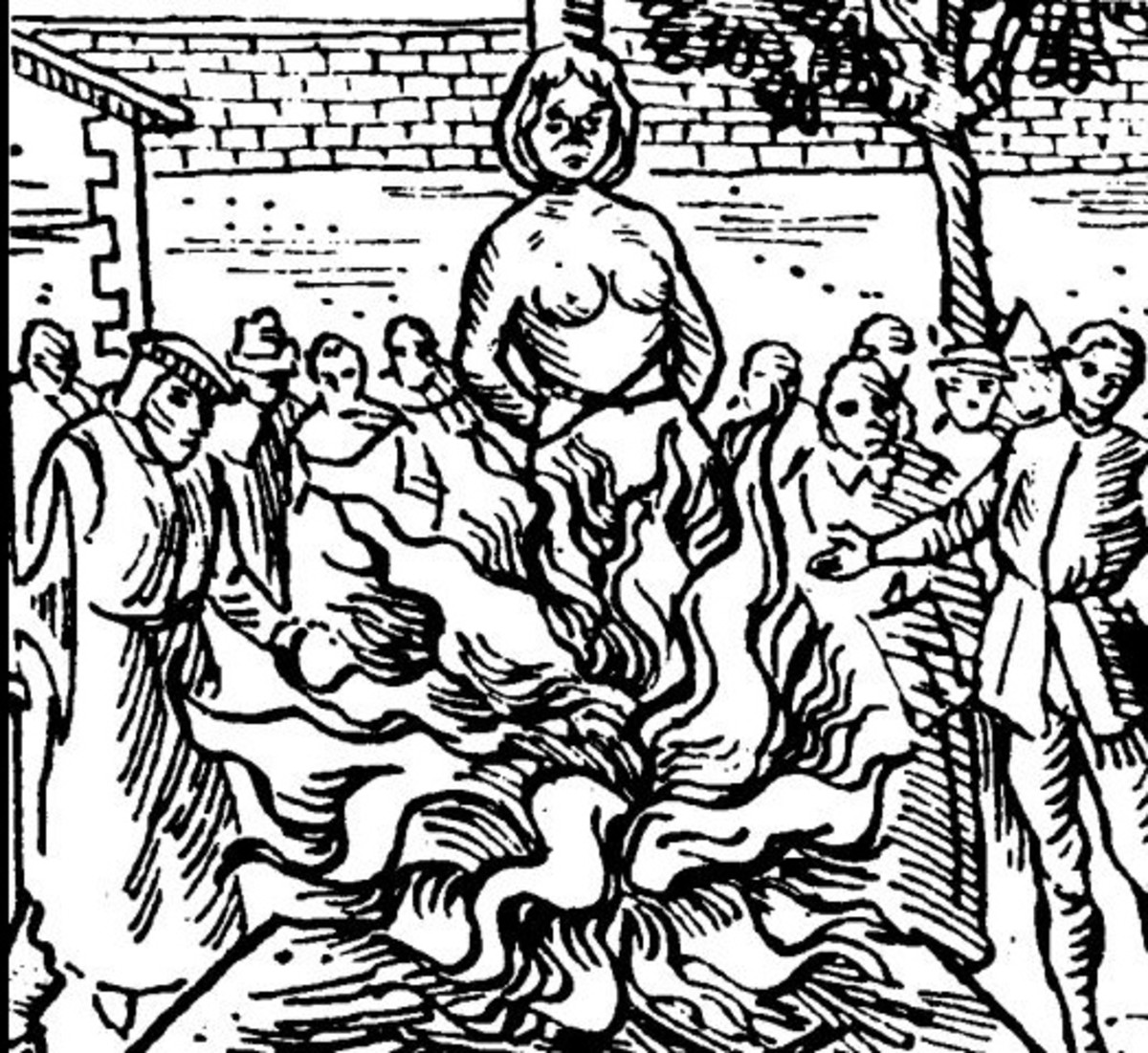 An Elizabethan witch burning.