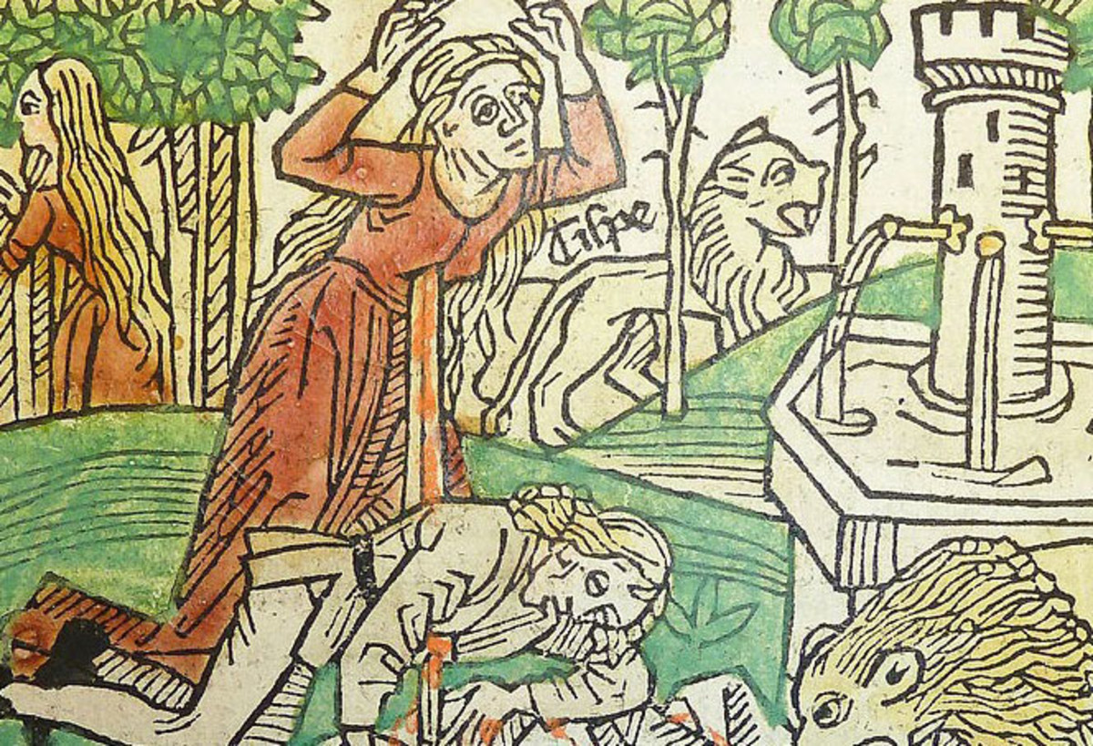 Illustration of the tragic end of Pyramus and Thisbe.