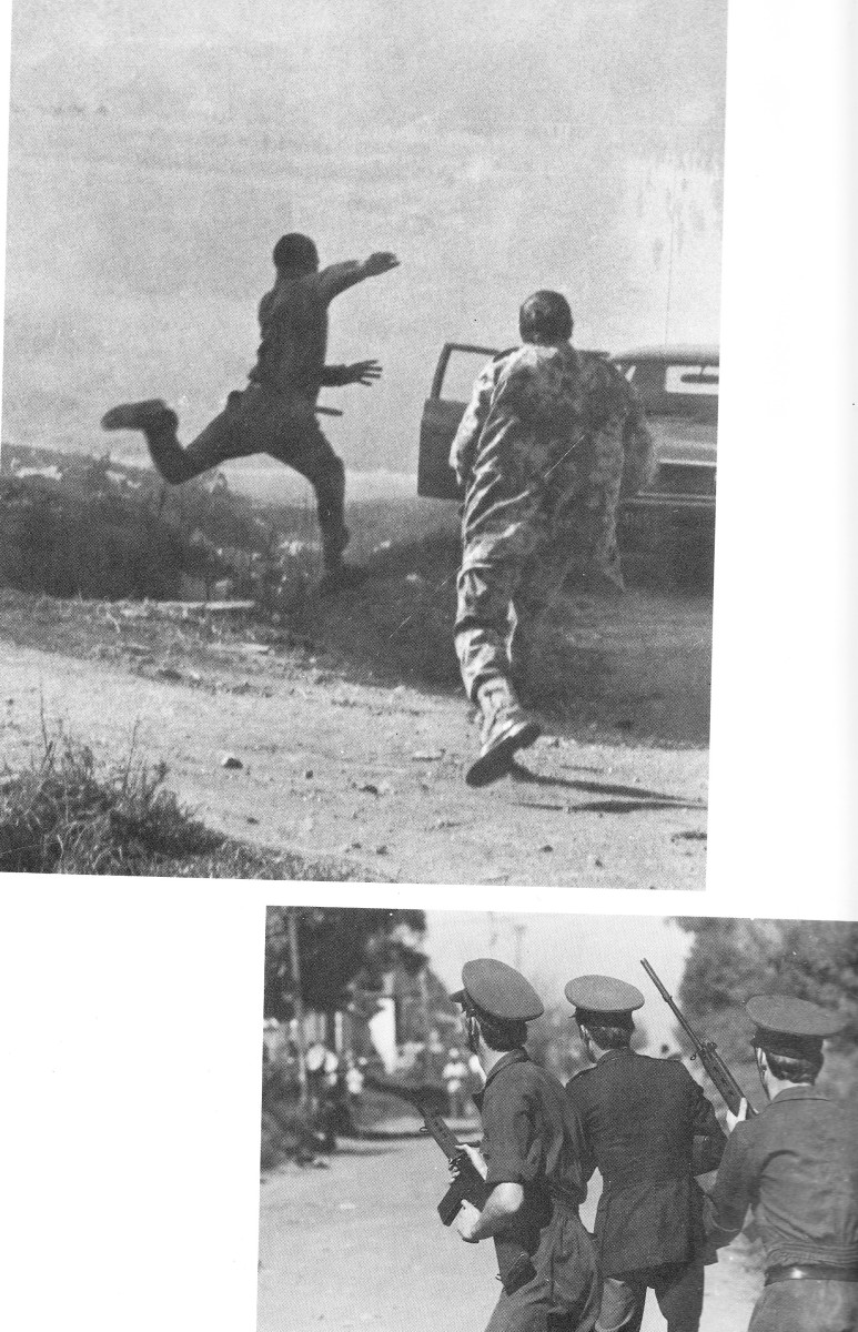 top:A policeman lumbering after a fleet-footed youngster making his getaway from him, June 16th 1976. Police in blue uniforms playing cat-and-mouse