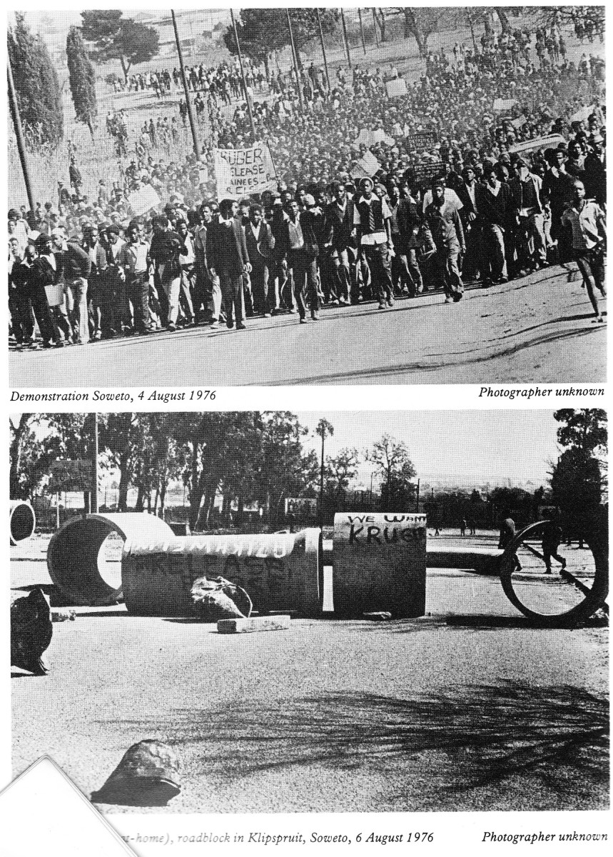 Students holding a determined protest on August 4th 1976; below, Roadblock in Klipspruit, Soweto, August 4th 1976. By this time students were demanding Black worker to stay away from work, and students were commanaded to stay-at-home
