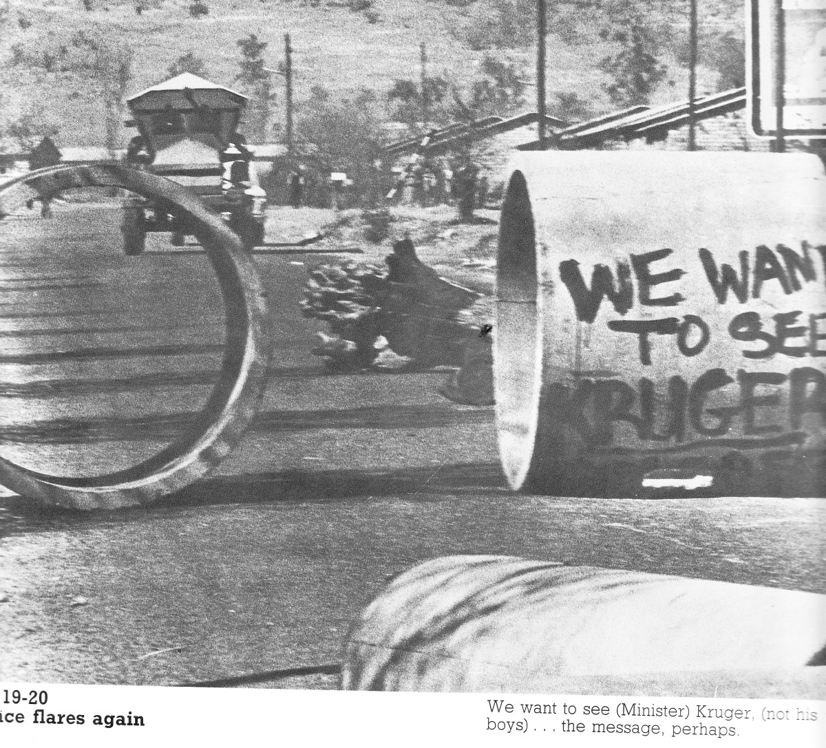 Blockades erected by students in their running war with the police and riot police who were by now ing military vehicles like the 'Hippo' seen in th background