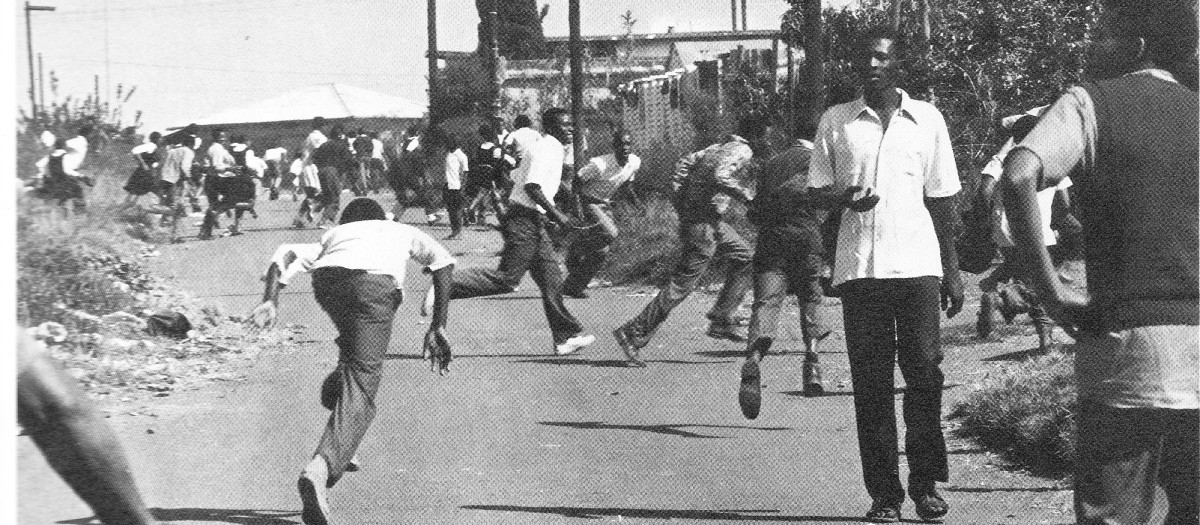 Running in a crouch, a tactic that became adopted by the students ducking bullets in 1976, trying to evade the police firing squads