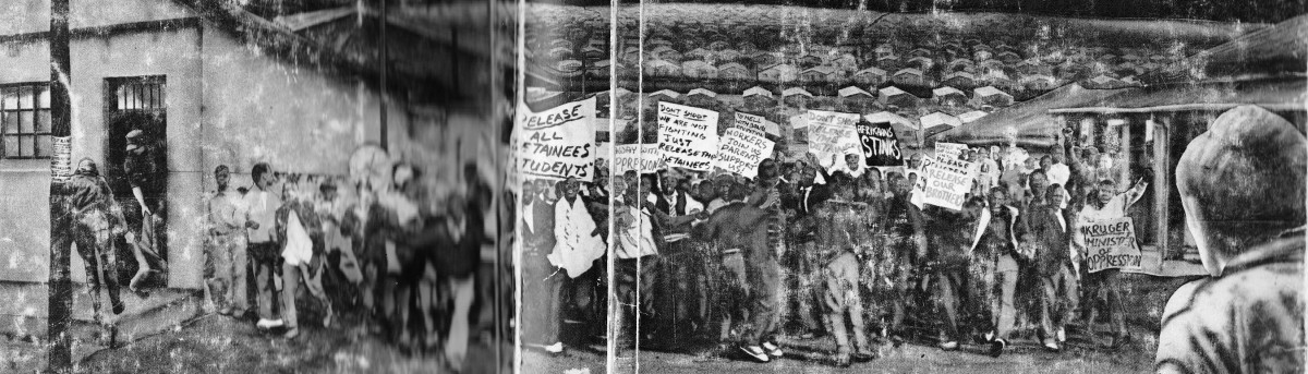 An Artist's impression of the student of 1976 holding a demonstration, and the police waylaying them
