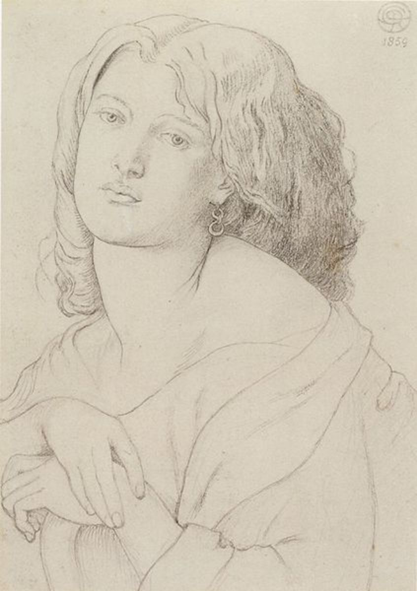 Fanny Cornforth, 1869 by Dante Gabriel Rossetti. Graphite on paper. Honolulu Academy of Arts. Courtesy of Wiki Commons
