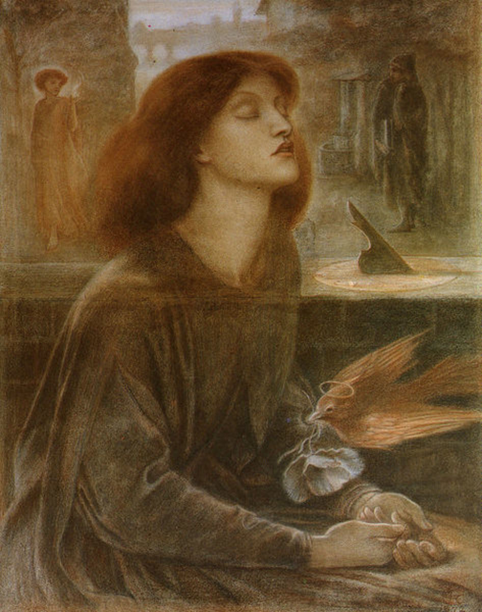 Beata Beatrix by Dante Gabriel Rossetti, 1864-70. Presently in the Tate Gallery, London. Image courtesy of Wiki Commons.
