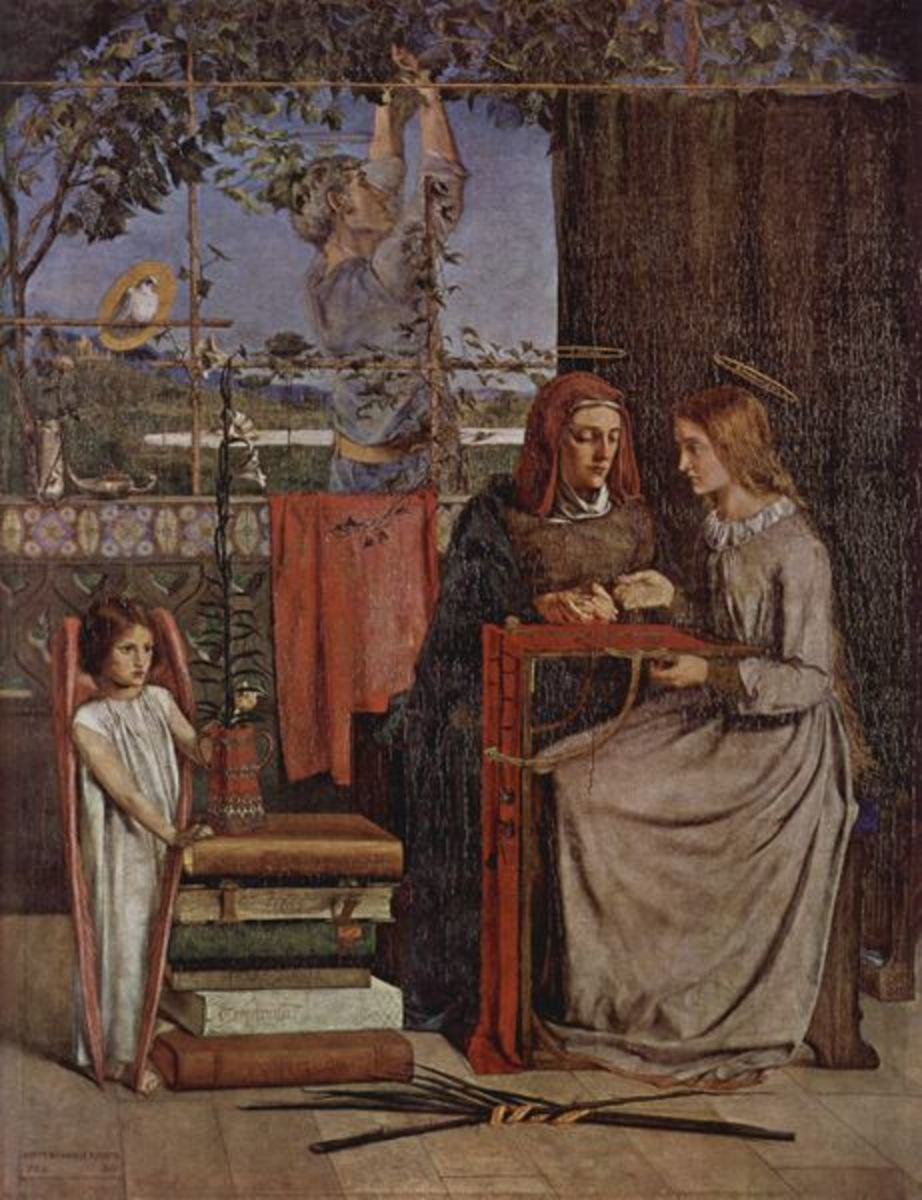 The Girlhood of St Mary Virgin by Dante Gabriel Rossetti, signed and dated PRB 1849. Now owned by the Tate Gallery in London. Image courtesy of Wiki Commons