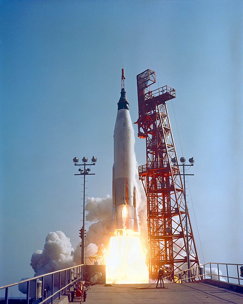 An Atlas rocket carries Gordon Cooper and Faith 7 into orbit. Photo courtesy of NASA.