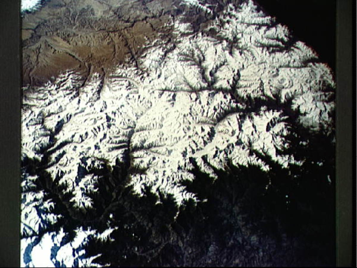 Photo of Himalayan mountains taken from orbit by Gordon Cooper. Photo courtesy of NASA.