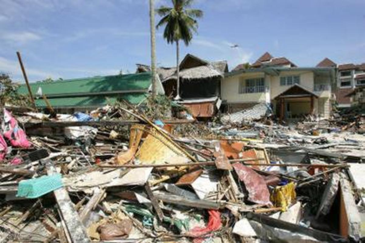 Destruction: Homes are destroyed by the tsunami