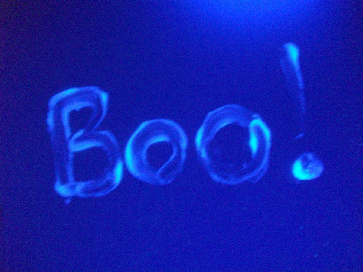 Petroleum jelly glows under a black light.